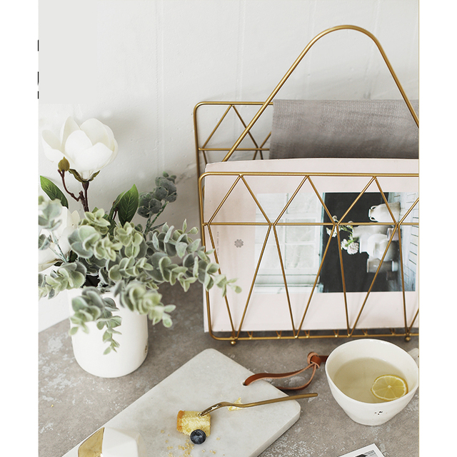 Gold Metal Nordic Modern Magazine Newpaper Storage Basket Barrel Vintage  Industrial Style Metal Wire Holder Table