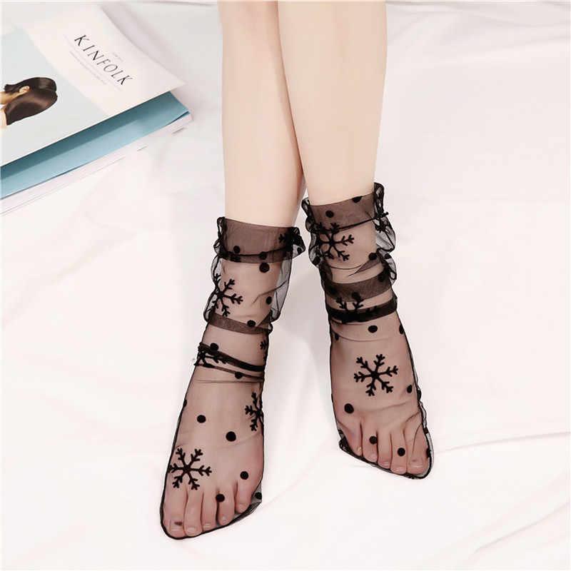 Новые пикантные дышащие кружево сетки ажурные носки с дизайном «звёзды» высокие каблуки Sox в горошек носки для девочек для женщин японский