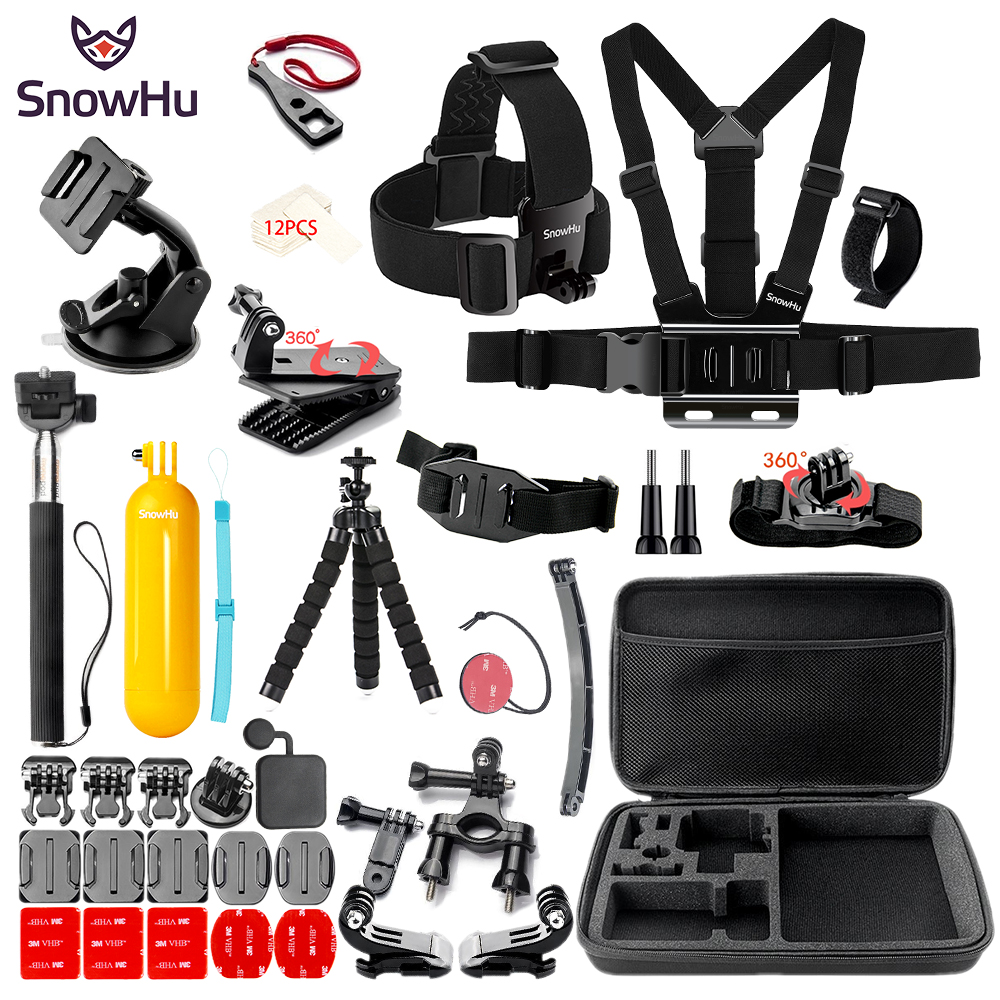 SnowHu for Sport camera Accessories set for SJCAM for SJ4000 for go pro hero 6 5 4 mount  for xiaomi for yi 4k for eken h9 GS84 snowhu for gopro accessories set for go pro hero 6 5 4 3 kit mount for sjcam sj4000 for xiaomi yi camera for eken h9 tripod gs21