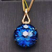 gemstone jewelry factory wholesale SGARIT brand round big stone 18k rose gold 22.7ct natural blue topaz pendant necklace women