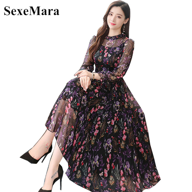 Floral Chiffon Dress Women's 2019 Korean Version Of The Autumn New O-Neck Fashion Print Long Section Long Sleeve Dress