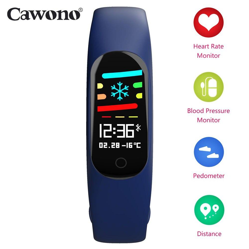 Cawono CW27 Nuovo Braccialetto Intelligente 0.96 ''OLED Sangue Monitor di Frequenza Cardiaca Push Messaggio di Nuoto Wristband per iphone Huawei Honor