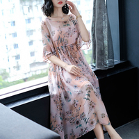 2018 summer new women silk dresses loose elegant lady party floral high waist flare sleeved dresses top quality