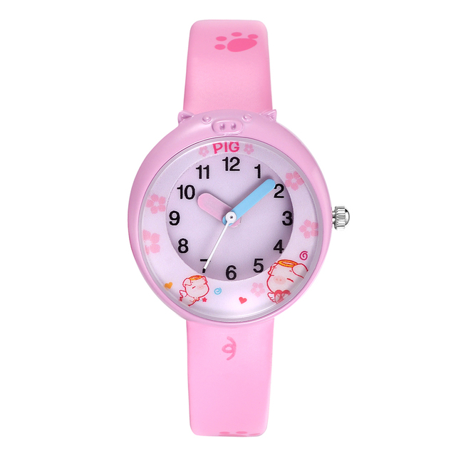 KEZZI Lovely Cartoon Pig Children Watches Creativity Numerals Dial Kids Watch St