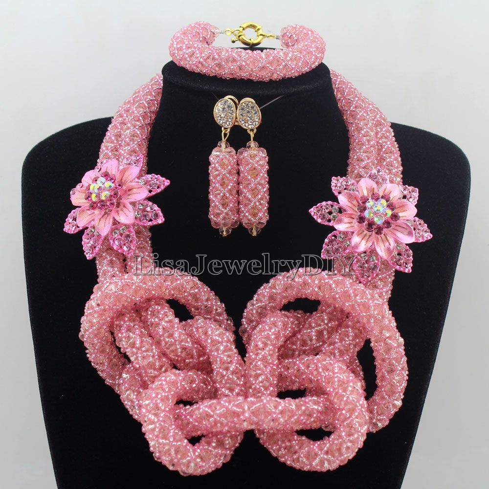 2016 Luxury Pink African Beads Wedding Necklace Set Chunky Nigerian ...