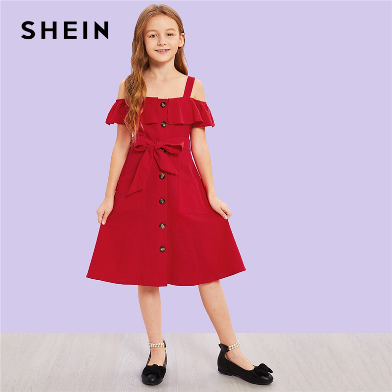 SHEIN Kiddie Ruffle Button Cold Shoulder Belted Cute Girls Dress 2019 Summer Sleeveless A Line Kids Dresses For Girls Clothing beige lace up design cold shoulder long sleeves dress