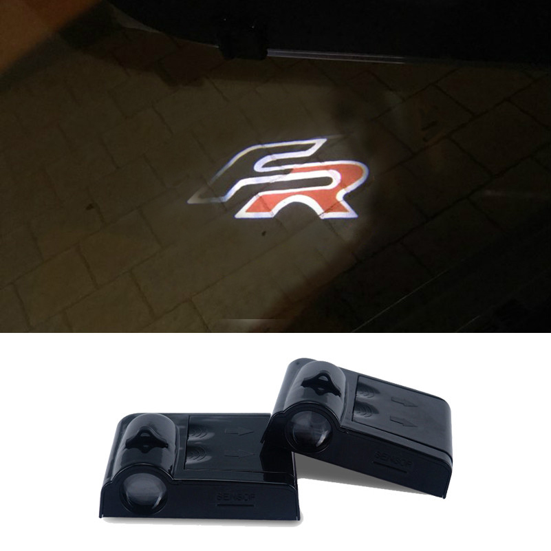2Pcs Wireless Car LED Logo Door Light For Seat Leon 1 2 3 MK3 Ateca Ibiza 6J Toledo Exeo Cordoba FR Ghost Shadow Welcome Lights
