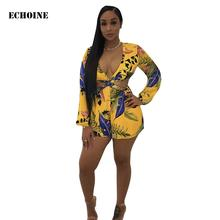 Floral Print Lace Up Backless Playsuit Sexy V-neck Long Sleeve Bodysuit Rompers Jumpsuit Club Outfits Elegant Party Overalls plunge v neck floral print playsuit with long sleeves