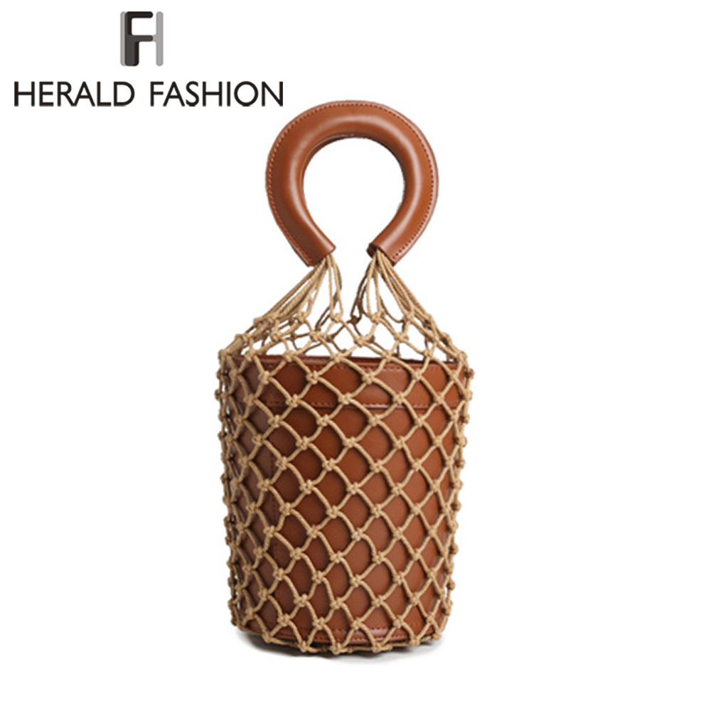 Herald Fashion Beach Bag Nets Bucket Totes Bags For Women 2018 Hollow Out Summer Luxury Leather Handbags Women Bags Designer famous brand unique design beach bag nets bucket bags female handbags hollow bao bao women shoulder bags summer totes bag tassel