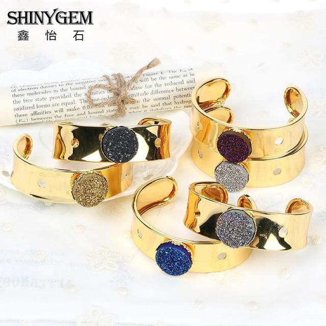 New Arrival Boho Big Bangles Pulseras Gold  Plated With Druzy Natural Stone Cuff Wide Bangle Bracelets For Women