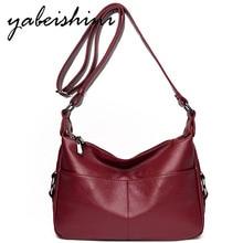 YABEISHINI Double Pocket Leather Hobos Bag Shoulder Crossbody Bags For Women 2019 Luxury Handbags Designer Sac A Main