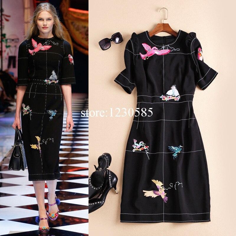 Black Birds Embroidery Runway Dress 2016 Fashion O Neck Short Sleeves Celebrity Style Dress High End