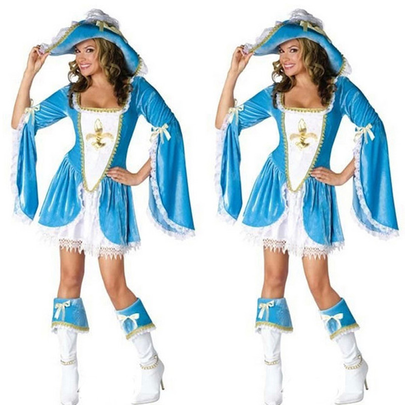 Sexy Deluxe Blue White Madam Musketeer Halloween Costume Pirates Costumes Fancy Dress Pirates Of The Caribbean