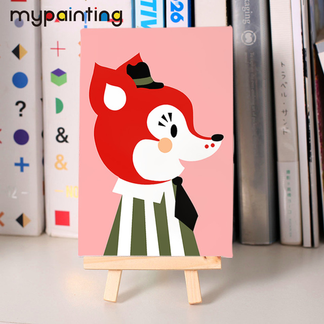 children diy fox oil Painting coloring by numbers coloring by number ...