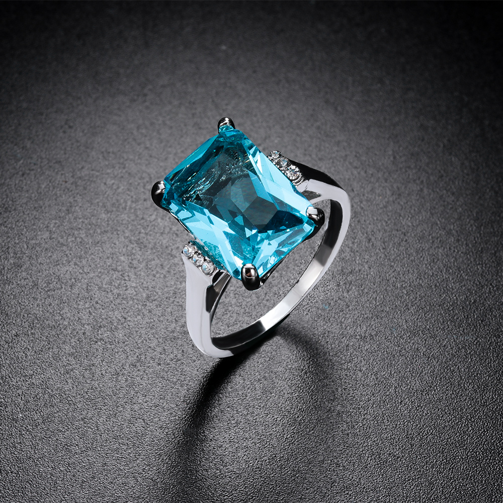 Begeistert 1 Pc Großen Blauen Cz Cubic Zirkon Stein Silber Farbe Ringe Für Frauen Mode Schmuck 2019 Neue Valentinstag Geschenk Hochzeit Ring Ohne RüCkgabe