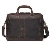 Crazy Horse Leather Bag Men Vintage Shoulder Bags for Men Laptop Bag 15.6 Guarantee Genuine Cow Leather Briefcases Handbag