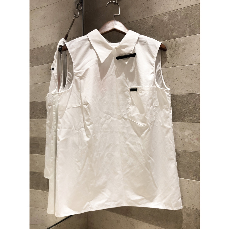White lapel sleeveless shirt bow decorated with simple temperament 2019 women s back diamond button top