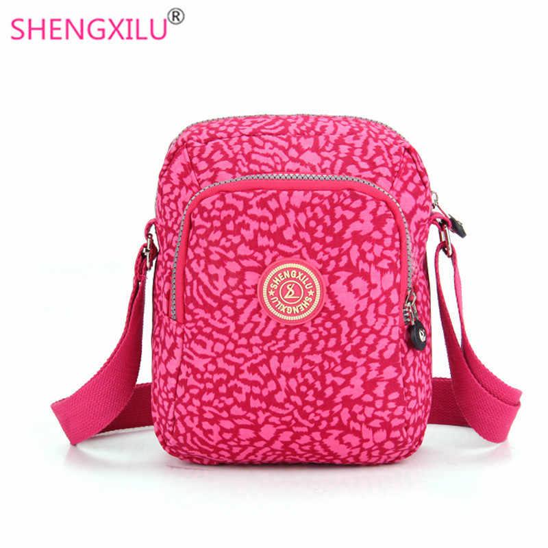 8c335e1400c5 Shengxilu Повседневное Для женщин Наплечные сумки из нейлона розовый  леопард Брендовые женские Сумки девочек Курьерские сумки