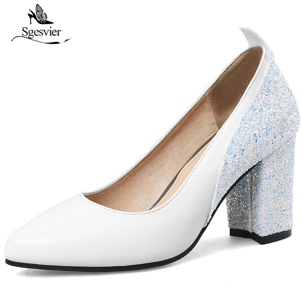 SGESVIER Size 30-48 Lady High Heel Shoes Women Pointed Toe Slip On Thick Heel Pumps Female Fashion Concise Daily Footwears OX232 loafers fashion round toe slip on women pumps female high heel shoes girls floral top quality brand footwear big size 43