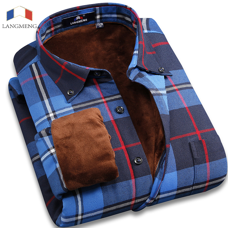 clearance Super Warm Casual Shirts brand quality male long sleeve men plaid office dress shirts thick mens thermals for winter