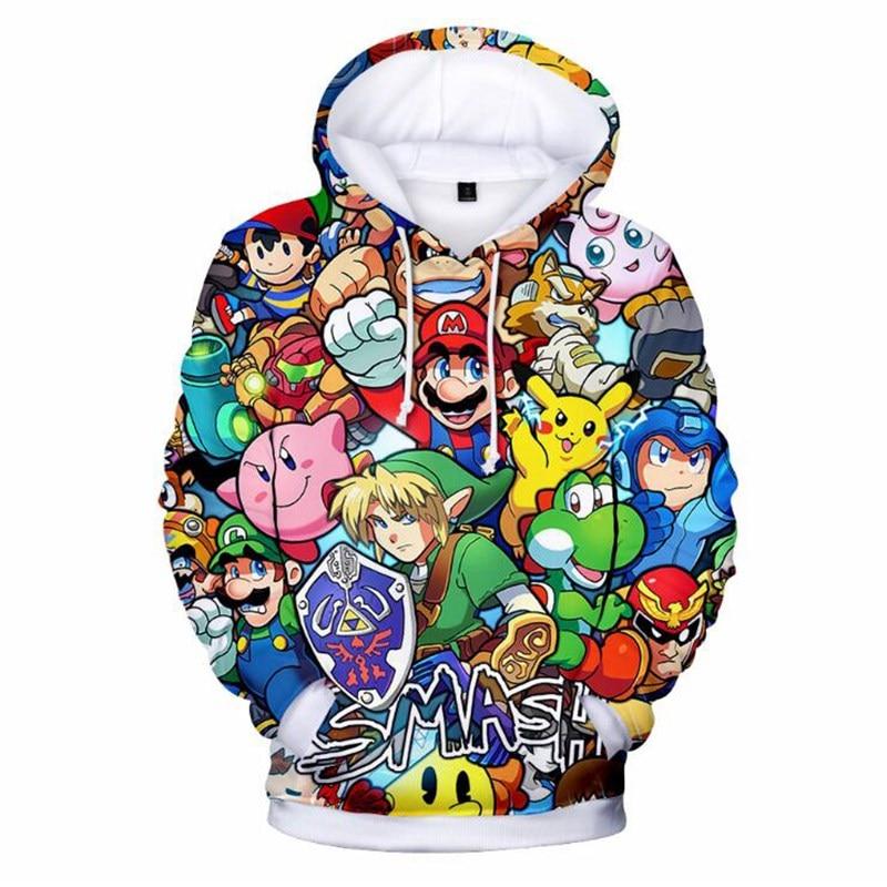 Super Mario Zelda 3D Printed Hoodies Super Smash Bros Women Men Long Sleeve Pullover Sweatshirt Hip Hop Streetwear Hooded 怪奇 ゾーン グラビティ フォールズ ステッカー