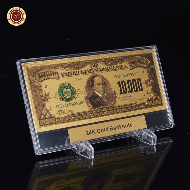 Wr 24k Gold Banknotes Colorful Bills Fake Money 10000 Dollars Foil Currency Paper Collections Crafts