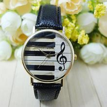 2016 New Fashion Geneva Women Men unisex Analog Quartz Piano Keyboard Musical Note Watch Wristwatch Lady Dress Ornament
