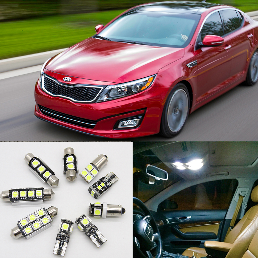 11pcs White Car Lamp LED Light Bulbs Interior Package Kit For 2011-2015 Kia Optima LED Package Interior + Tag + Reverse Lights