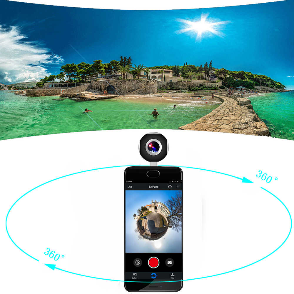 Podofo 360 Camera Panoramic Mini Camera 360 HD Wide Dual Lens Fish Eye VR  Video Camera for Android Sport Action Camera TypeC