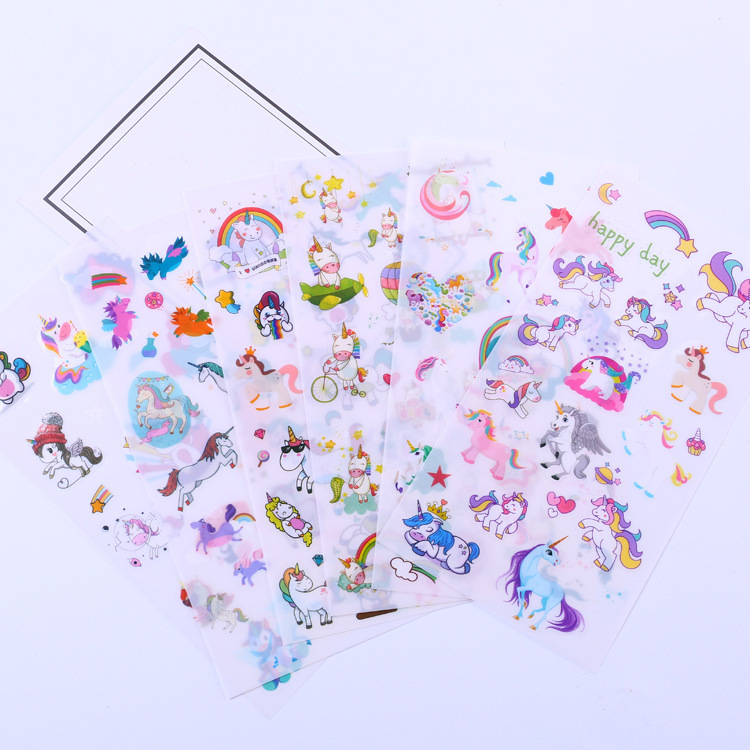 6 pcs/pack Happy Unicorn Stickers Decorative Stationery Craft Stickers Scrapbooking DIY Stick Label 18mm round lead free packing rohs label stickers 15 x 50 pack