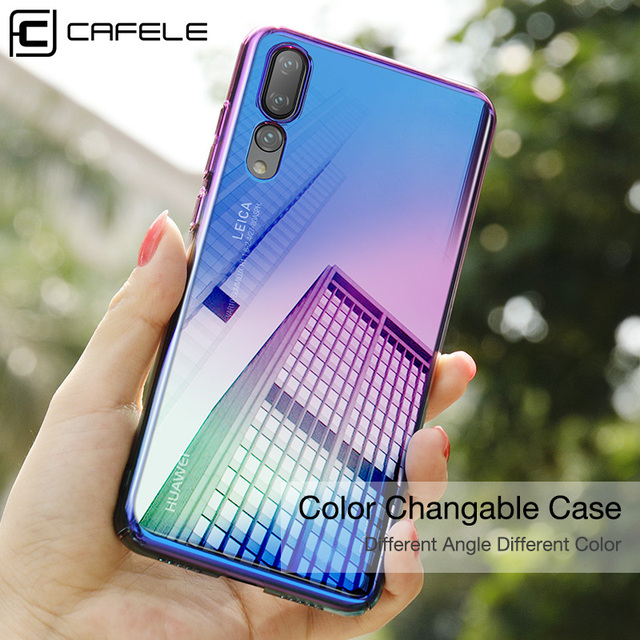 new style ff82d 22c69 Cafele Case for Huawei P20 Pro Gradient Color Cover Hard PC Plastic Case  for Huawei P20 Lite Anti Scratch Case for Huawei P20