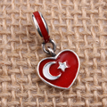 Turkey Heart Flag Charms Original 100% Authentic 925 Sterling Silver Thread Beads fit for Pandora Charms bracelets & Necklaces