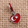 Turquía Bandera Del Corazón Encantos Original 100% Auténtico 925 Sterling Silver Beads Thread fit Pandora Charms pulseras y Collares
