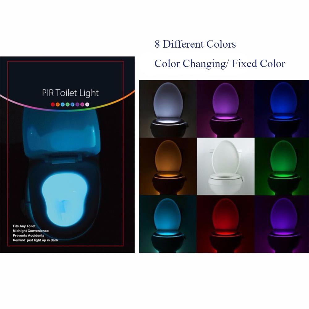 Smart PIR Motion Sensor Toilet Seat Night Light 8 Colors Waterproof Backlight For Toilet Bowl LED Luminaria Lamp WC Toilet Light