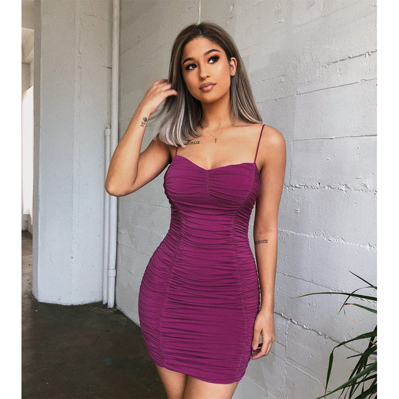 Women 39 s Sexy Purple Sling Draped Slim Waist Package Hip Dresses Sleeveless Backless Fashion High grade Party Lady Short Dress F4 in Dresses from Women 39 s Clothing