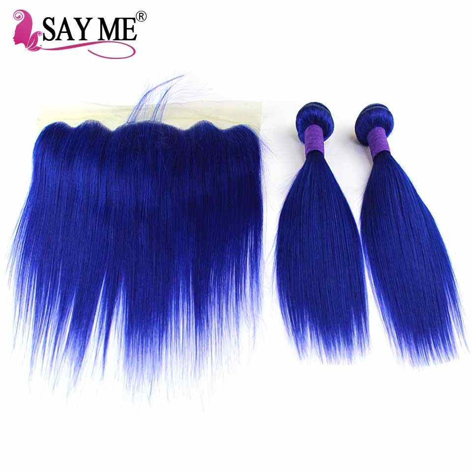 Blue Colored Bundles With Closure Straight Hair Bundles With Frontal Closure Remy Human Hair Bundles With Lace Frontal 13*4