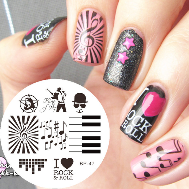Music Theme Nail Art Stamping Template Plate Stamp Nail Plates Image