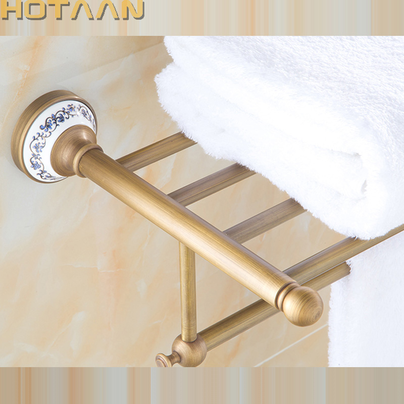 FREE SHIPPING, Solid Brass Bathroom Towel Rack, Antique Brass Towel Holder,60cm Corner Bath Towel Shelf Accessories,YT-11501 free shipping bathroom towel holder zinc alloy antique brass towel rack 60cm bath towel rack yt 4011