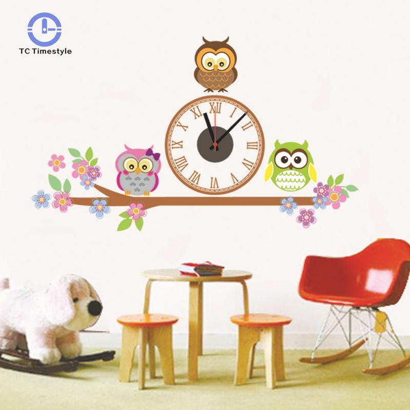 Wall Clocks Cute Owl Cartoon Sticker Large Decorative Watches Kids Bedroom Children Home Decor Big Wall Clock