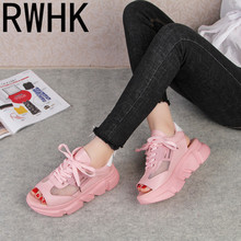 RWHK 2019 summer sandals Korean casual muffin bottom with sports shoes fish mouth straps increased B298