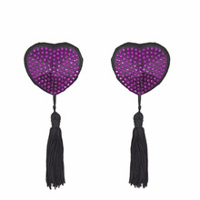 Women Reusable Nipple Cover Self Adhesive Sexy Pasties Heart  Shape Tassels Tepel Diamond