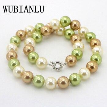 WUBIANLU descuentos collar de perlas de vidrio Multicolor 12mm 18 pulgadas mujeres moda hermosa joyería regalos al por mayor