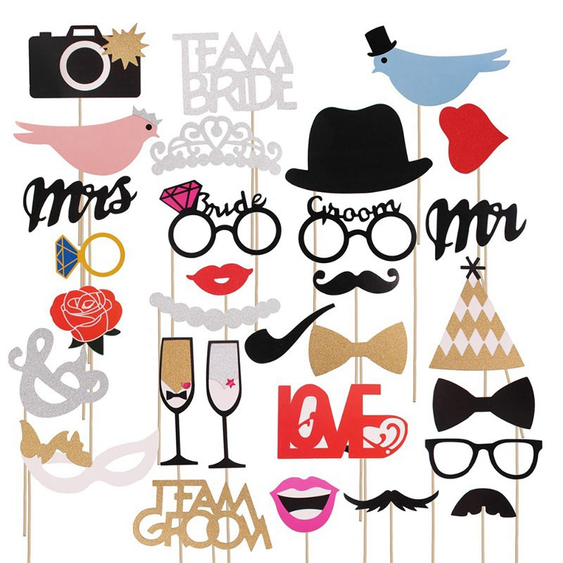31pcs/lot Funny Photo Booth Props DIY Mr Mrs Wedding Groom Bridal Party DIY Decoration Photobooth Mask Accessories Photo Props