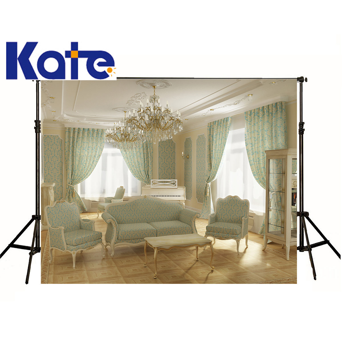 kate Photographic background Indoor living room piano room chair chandelier props Can be washedbackdrops boy wedding 8 x 8 ft private villa living room chair retail
