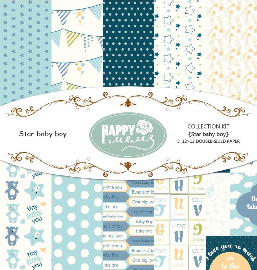 Happymems 5PCS/Pack 12*12in Double-Sided Craft Paper Star Baby Boy Style Craft Paper DIY ...