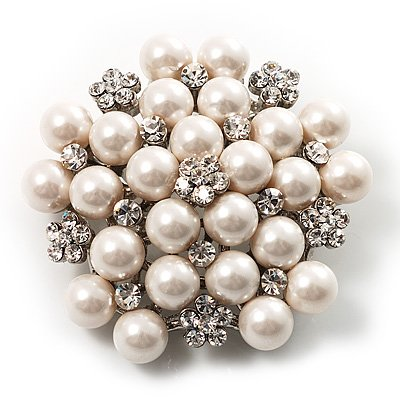 Vintage Pins Imitation Pearl Brooch Classic Ethnic Crystal GeoBrooch Suit Banquet Decoration Pins Jewelry