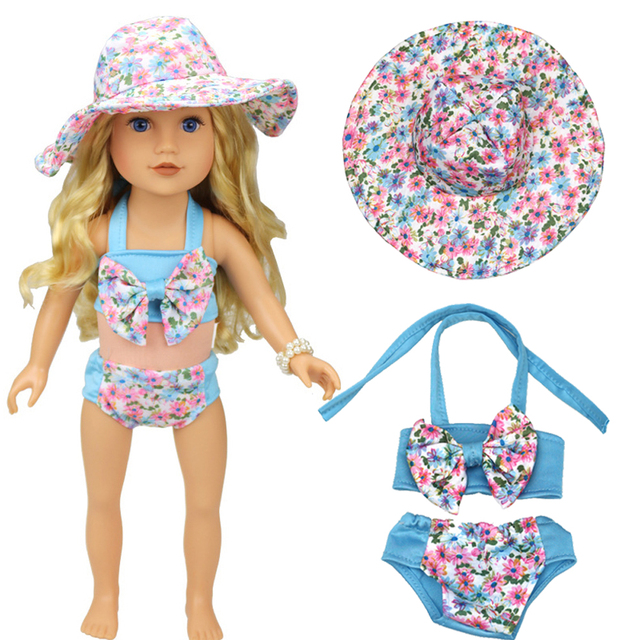 """3pcs/set Clothes For 18"""" American Girl Doll Bikini + Cap summer Swimming Suit With Hat"""