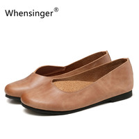 Whensinger 2017 Spring New Arrival Patchwork Women Shoes Breathable Genuine Leather Flats 181