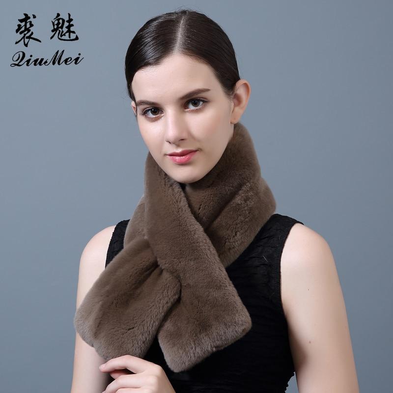 Women's Real Fur Scarf High Quality Luxury Big Long Natural Rex Rabbit Fur Scarves Thick Warm Winter Fashion Full Pelt Fur Scarf
