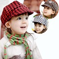 New Classic Plaid Hats for Children Retro Cotton Girls Boys Baby Caps for 1-3 Years 1 Piece
